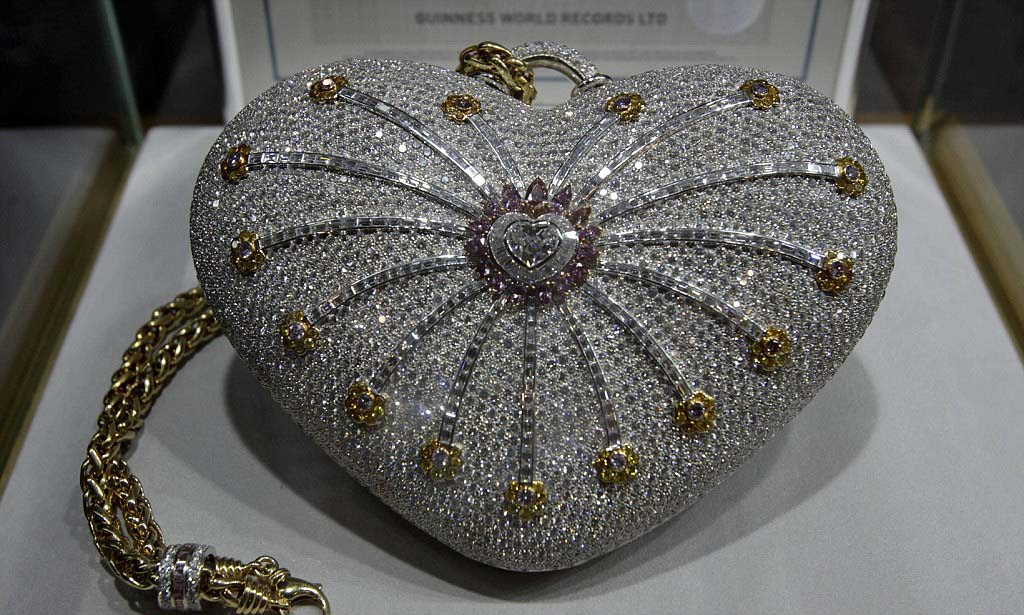 """The Mouawad 1001 Nights Diamond Purse"" is seen on displayed at the Doha Jewellery and Watches Exhibition"
